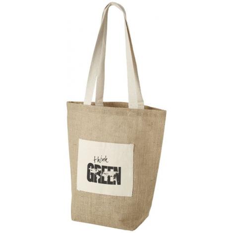 Sac shopping publicitaire en jute avec poche coton - Calcutta