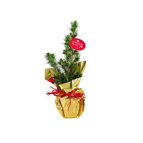Sapin de Noël en pot publicitaire et papier métal