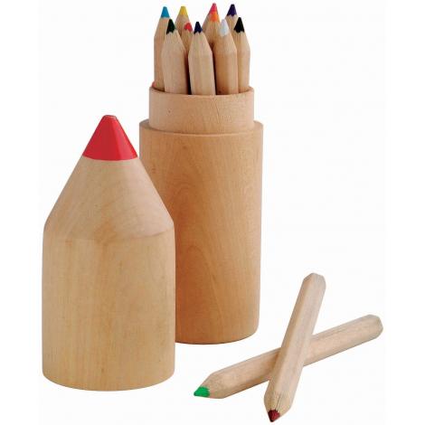 Set publicitaire de 12 crayons de couleur - Etui en bois
