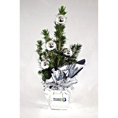 Sapin de Noël publicitaire avec boules de noël