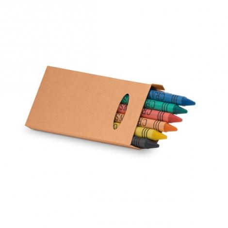 Boite publicitaire de 6 crayons en cire