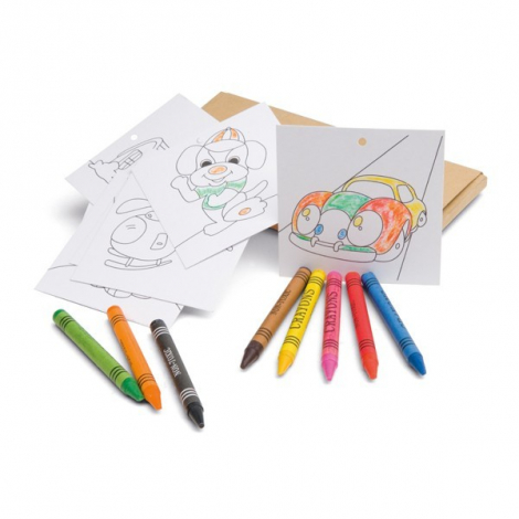 Crayons en cire et feuilles