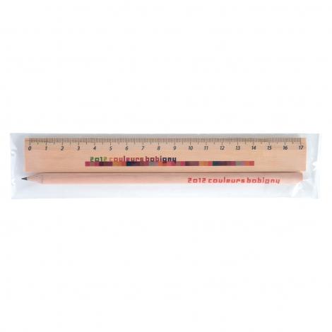 Kit Eco règle et crayon de papier personnalisable - 17,6 cm