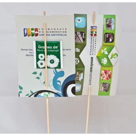 Carte publicitaire de semis sur tige