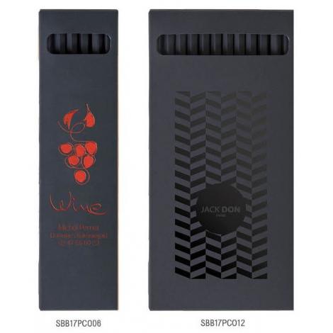 Etuis carton noir de 6 ou 12 crayons de couleurs black - 17.6cm