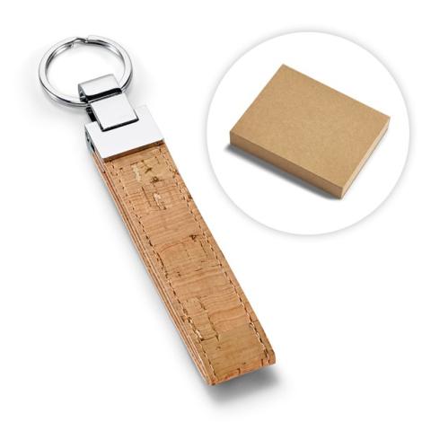 Porte-clés publicitaire en liège et métal