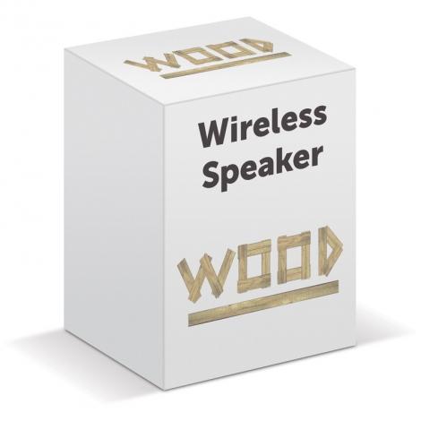 Enceinte sans fil en bois publicitaire
