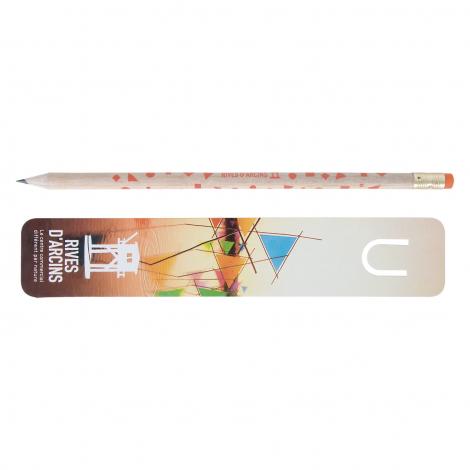 Marque-page publicitaire et crayon vernis incolore - 17,6 cm
