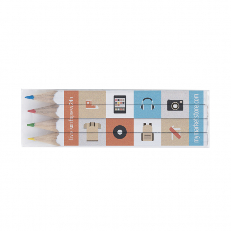 Set de 4 crayons de couleur quadri - 8,7 cm