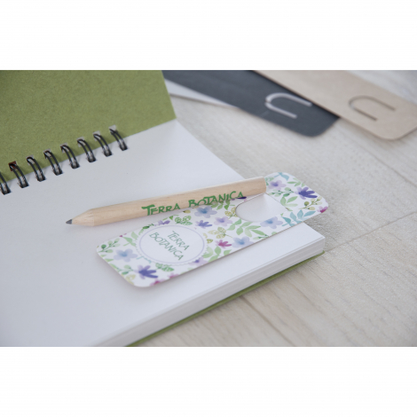 Marque-page publicitaire et crayon vernis incolore - 8,7 cm