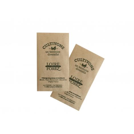 Sachet de graines publicitaire en Kraft brun 70 x 120 mm