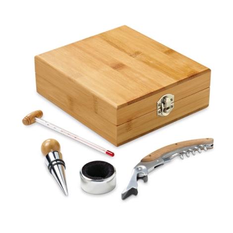 Set à vin en bambou personnalisable