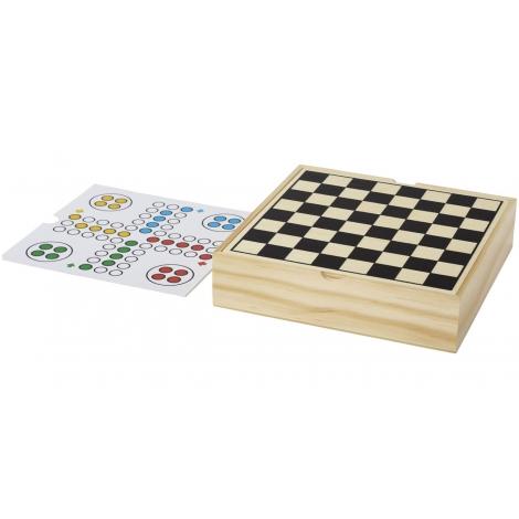 Coffret de jeux publicitaire en bois