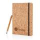 Carnet de notes publicitaire en liège avec un stylo/stylet en bambou - A5