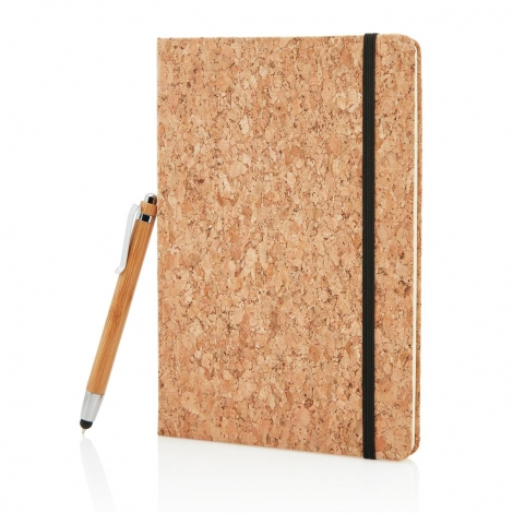 Carnet de notes en liège avec un stylo en bambou A5