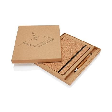 Carnet publicitaire en liège et stylo/stylet en bambou - A5