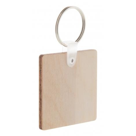 Porte-clés personnalisable carré en bois - Woody C