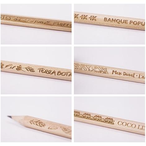 Crayon publicitaire 17,6 cm rond - Prestige naturel avec gravure