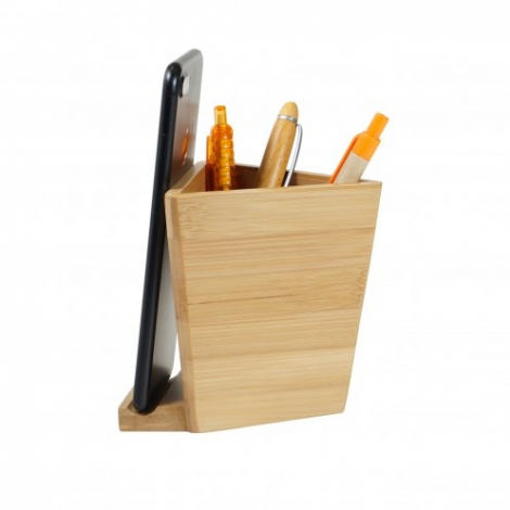 Pot à crayons publicitaire avec support téléphone - Bambee