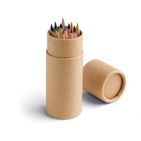 Tube publicitaire de 12 crayons de couleur
