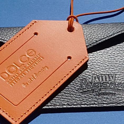 Étiquettes de bagage publicitaire en cuir recyclé
