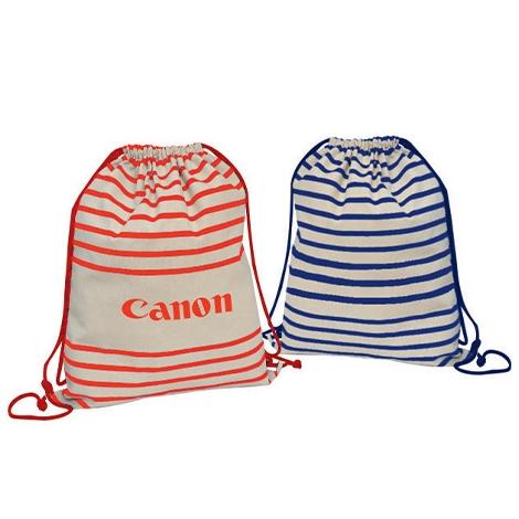 Gym bag publicitaire rayé en coton naturel écru - 240 gr