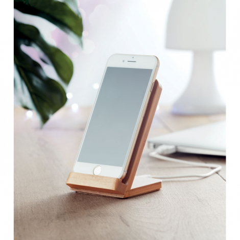 Chargeur publicitaire sans fil bambou - Wire&Stand