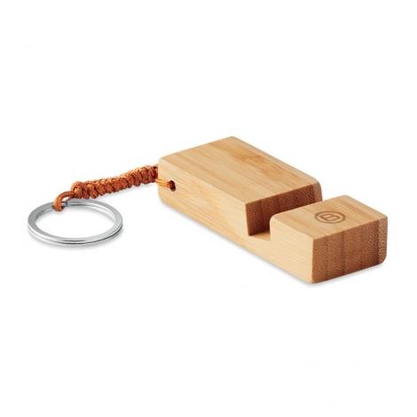 Porté-clés publicitaire bambou support téléphone - Trineu