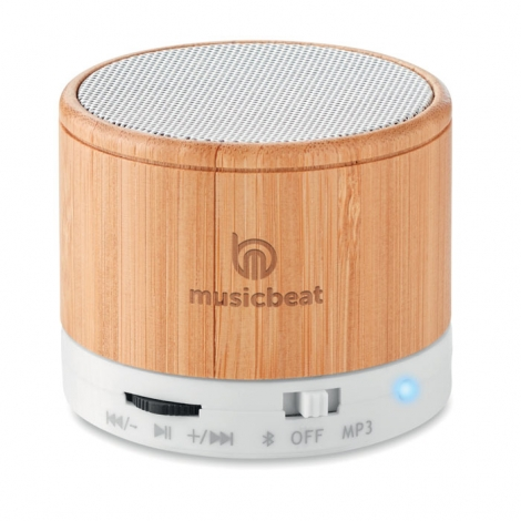 Mini enceinte bambou publicitaire 3W - Round Bamboo