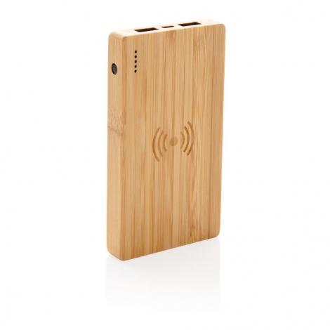 Batterie de secours bambou publicitaire - 4000 mAh