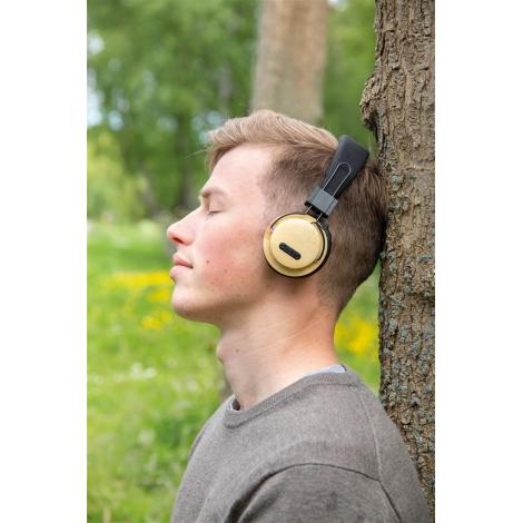 Casque audio en bambou publicitaire