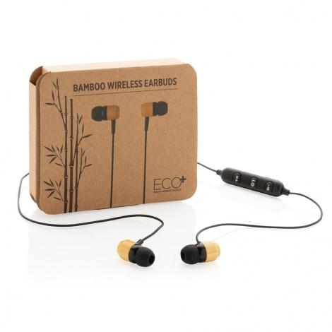 Écouteurs sans fil en bambou publicitaire