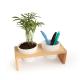 Plateau publicitaire en bois et double pot avec plante