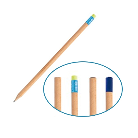 Crayon de papier rond en bois français - vernis incolore