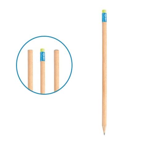 Crayon de bois français publicitaire sans vernis - 17,6 cm