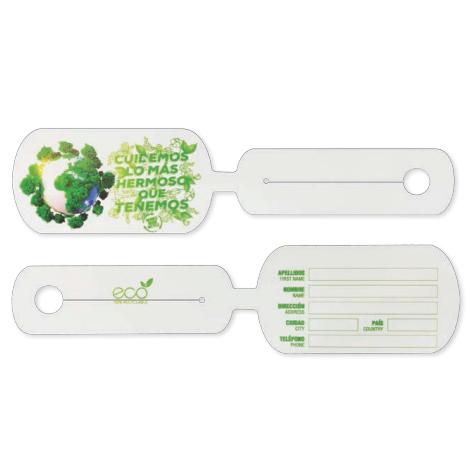 Étiquette de bagage publicitaire en papier minéral