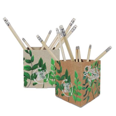 Pot à crayons publicitaire en carton kraft ou recyclé