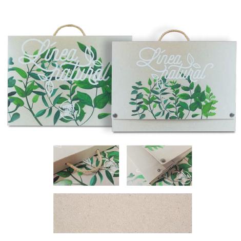 Valisette publicitaire en carton recyclé naturel