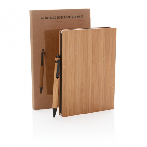 Set carnet A5 et stylo en bambou publicitaire