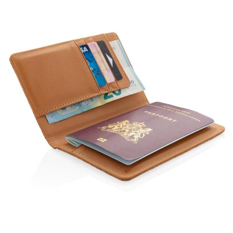 Étui passeport anti RFID en liège publicitaire