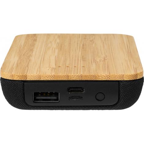 Chargeur à induction publicitaire et powerbank 6000 mAh en bambou/tissu - Future