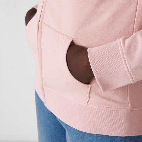 Sweat personnalisé bio zippé à capuche Femme 280 gr