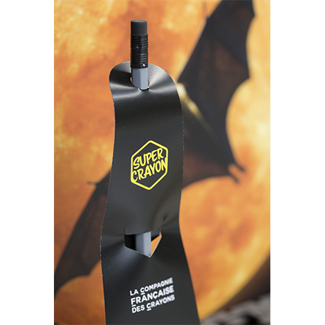 Crayon publicitaire vernis gris - Le Super Crayon Bat
