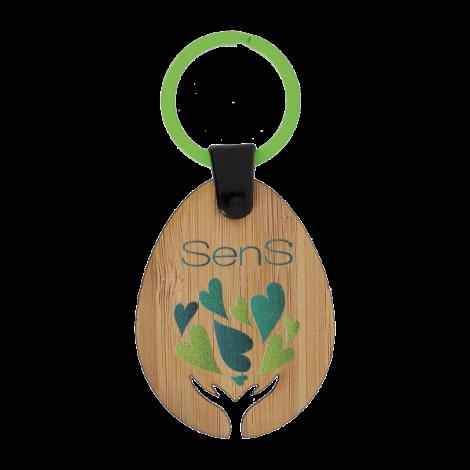 Porte-clés publicitaire en bambou sur-mesure