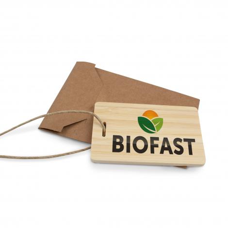 Etiquette à bagage en bambou publicitaire