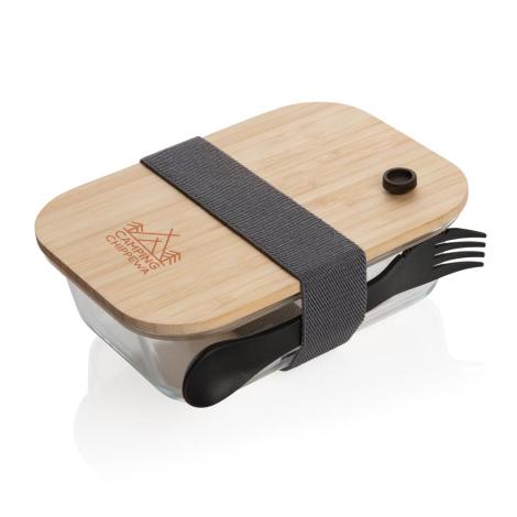 Lunch box publicitaire en verre couvercle en bambou