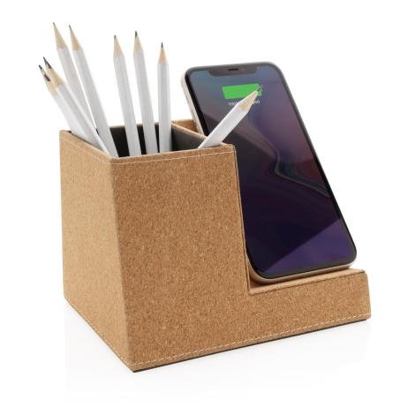Chargeur induction en liège personnalisé avec porte-crayons