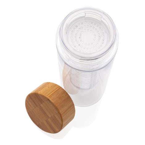 Bouteille infusion promotionnelle avec bouchon en bambou