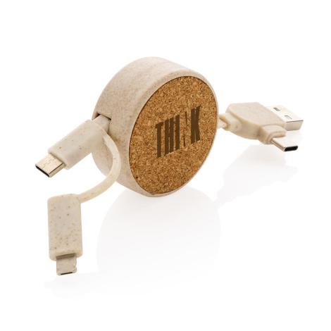 Câble rétractable publicitaire en liège et fibre de paille