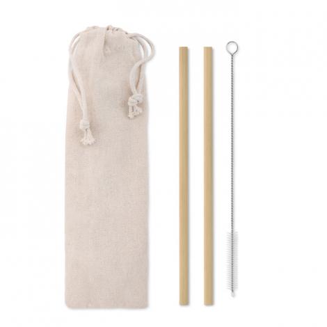 Set 2 de pailles personnalisables en bambou - NATURAL STRAW
